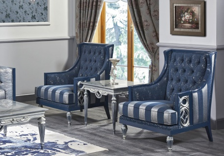 Casa Padrino Luxus Barock Wohnzimmer Set Dunkelblau / Hellblau / Silber - Sofa & 2 Sessel & Couchtisch - Barock Wohnzimmermöbel - Vorschau 4