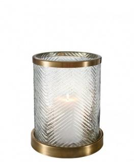 Casa Padrino Designer Windlicht / Kerzenleuchter Messing Finish 23 x H. 27 cm - Luxus Qualität