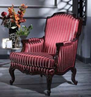 Casa Padrino Luxus Barock Sessel Bordeauxrot / Silber / Schwarz 77 x 85 x H. 110 cm - Gestreifter Wohnzimmer Sessel im Barockstil