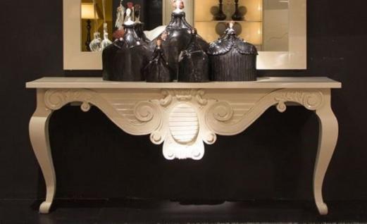 Casa Padrino Luxus Barock Konsole Weiß 200 x 45 x H. 85 cm - Handgefertigter Massivholz Konsolentisch - Barock Hotel Möbel - Luxus Qualität