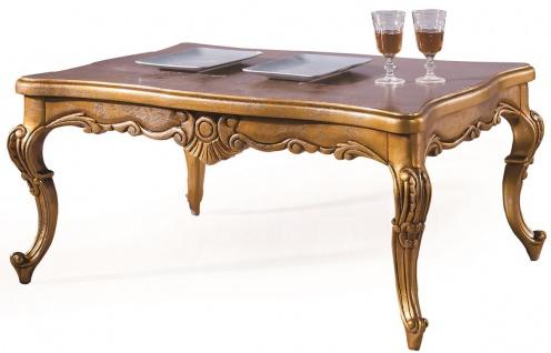 Casa Padrino Luxus Barock Couchtisch Antik Gold 100 x 90 x H. 45 cm - Wohnzimmertisch mit Glasplatte - Barockstil Wohnzimmer Möbel