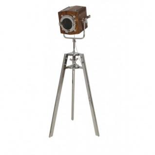 Casa Padrino Vintage Studioleuchte Holz / Edelstahl vernickelt 151 - 168 cm - Stehleuchte Lampe