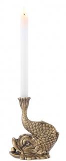 Casa Padrino Luxus Kerzenhalter Koi Karpfen Fisch Vintage Messingfarben 17, 5 x 12, 5 x H. 20, 5 cm - Messing Kerzenständer - Deko Accessoires - Vorschau 3