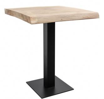 Casa Padrino Luxus Bartisch mit Soar-Holz Tischplatte Naturfarben / Schwarz - Luxus Kollektion