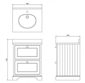 Casa Padrino Waschschrank / Waschtisch mit Marmorplatte und 2 Schubladen - Luxus Edition - Vorschau 4