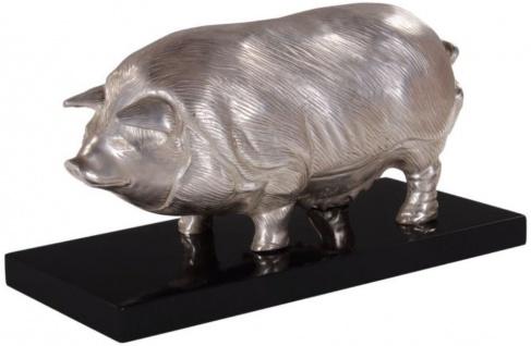 Casa Padrino Luxus Bronzefigur Schwein auf Holzsockel Silber / Schwarz 35 x 17 x H. 19 cm - Versilberte Deko Figur - Vorschau 4