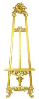Casa Padrino Barock Staffelei Gold 55 x H. 170 cm - Prunkvolle Massivholz Staffelei mit ausklappbarem Ständer