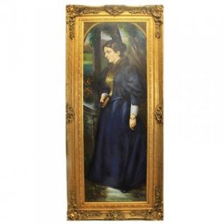Riesiges Handgemaltes Barock Öl Gemälde Signorina Gold Prunk Rahmen 220 x 100 x 10 cm - Massives Material
