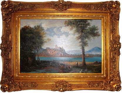 Handgemaltes Barock Öl Gemälde Landschaft Gold Prunk Rahmen 125 x 95 cm - Vorschau