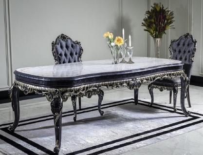 Casa Padrino Luxus Barock Esstisch Weiß / Blau / Gold - Handgefertigter Massivholz Esszimmertisch - Barock Esszimmer Möbel - Edel & Prunkvoll