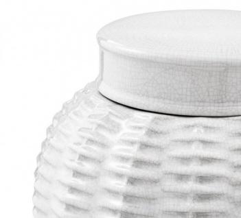 Casa Padrino Designer Keramik Vase mit Deckel Weiß Durchmesser 26 x H. 36, 5 cm - Luxus Vase - Vorschau 2