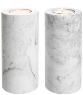 Casa Padrino Luxus Marmor Teelichthalter Set Weiß Ø 10 x H. 21 cm - Luxus Qualität
