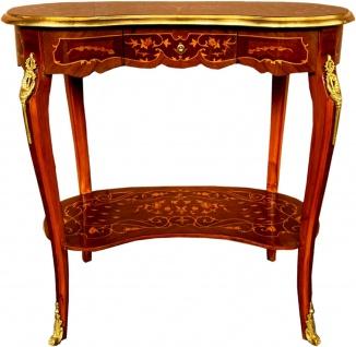 Casa Padrino Barock Beistelltisch mit Schublade Braun Intarsien / Gold - Antik Stil Konsole Kommode - Telefontisch - Möbel