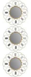 Casa Padrino Designer Spiegel / Wandspiegel 3er Set Gold Ø 26 cm - Deko Accessoires