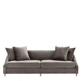 Casa Padrino Luxus Samtsofa Grau / Messingfarben 223 x 94 x H. 73 cm - Wohnzimmer Sofa mit 4 Kissen - Luxus Möbel - Vorschau 3