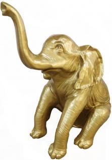Casa Padrino Designer Deko Skulptur sitzender Elefant Gold H. 140 cm - Deko Tierfigur - Riesige Gartendekofigur
