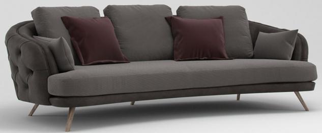Casa Padrino Luxus Chesterfield 3-Sitzer Sofa Grau / Braun 240 x 95 x H. 85 cm - Wohnzimmer Sofa - Wohnzimmer Möbel