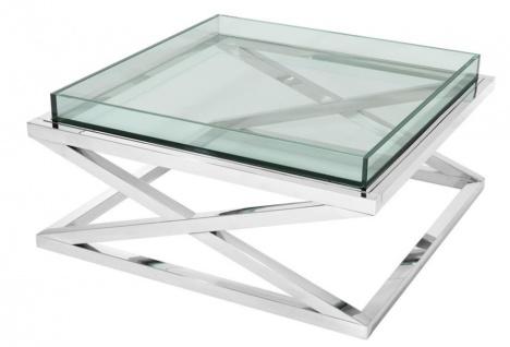 Casa Padrino Designer Couchtisch Silber 100 x 100 x H. 46, 5 cm - Luxus Hotel Möbel - Vorschau 1