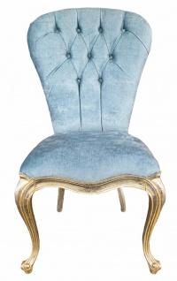 Casa Padrino Luxus Barock Esszimmerstuhl Hellblau / Gold - Handgefertigter Massivholz Stuhl - Barockstil Küchenstuhl - Barock Esszimmer Möbel