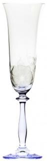 Casa Padrino Luxus Barock Champagnerglas 6er Set Blau Ø 7 x H. 24, 5 cm - Handgefertigte und handgravierte Champagnergläser mit Blumen Design - Hotel & Restaurant Accessoires