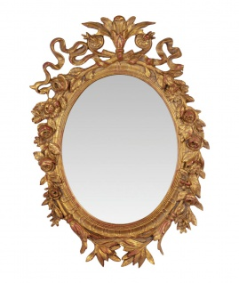 Casa Padrino Barock Wandspiegel Gold Oval B 45.2 x H 64.3 cm - Edel & Prunkvoll