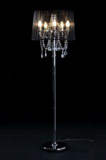 Barock Stehleuchte mit Kristall-Deco, 5-Flammig, Schwarz Leuchte Lampe
