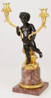 Casa Padrino Barock Doppel Kerzenhalter Schwarz / Gold / Rot 26 x 15, 1 x H. 48 cm - Edler Kerzenständer im Barockstil