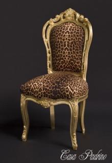 Casa Padrino Barock Esszimmer Stuhl Leopard / Gold - Antik Stil Möbel