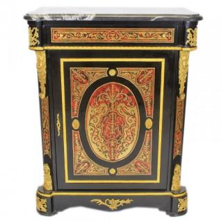 Casa Padrino Barock Boulle Kommode Schwarz / Gold / Rot mit Marmorplatte 95 x H105 cm - Möbel Schrank Sideboard