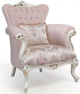 Casa Padrino Luxus Barock Sessel Rosa / Weiß / Gold 83 x 96 x H. 102 cm - Wohnzimmer Sessel mit dekorativem Kissen - Barockmöbel