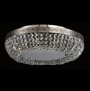 Casa Padrino Barock Decken Kristall Kronleuchter Nickel 45 x H 12, 5 cm Antik Stil - Möbel Lüster Leuchter Hängeleuchte Hängelampe