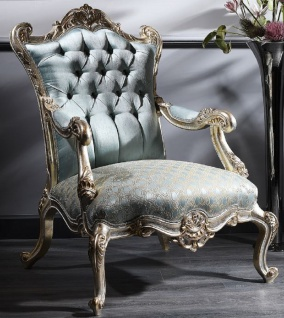 Casa Padrino Luxus Barock Chesterfield Thron Sessel Türkis / Gold / Silber 87 x 83 x H. 110 cm - Barockmöbel