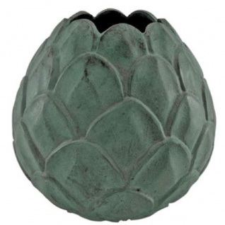 Casa Padrino Aluminium Vase Mintgrün Ø 29 x H. 28 cm - Dekorative Blumenvase im Ananas Design