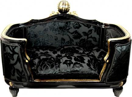 Pompöös by Casa Padrino Luxus Barock Hunde & Katzenbett Deluxe Schwarz Bouquet Muster / Gold von Harald Glööckler