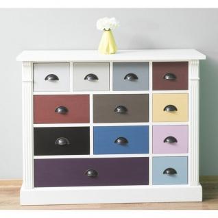 Casa Padrino Landhausstil Kommode weiß mit 12 bunten Schubladen - Büromöbel im Landhausstil