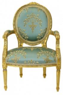 Casa Padrino Barock Medaillon Salon Stuhl Türkis Muster / Gold Modell Versailles - Möbel Antik Stil