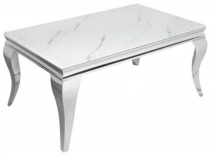 Casa Padrino Designer Couchtisch Weiß / Grau / Silber 100 x 60 x H. 45 cm - Rechteckiger Edelstahl Wohnzimmertisch mit digitalbedrucktem Sicherheitsglas in Marmoroptik - Moderne Barock Möbel