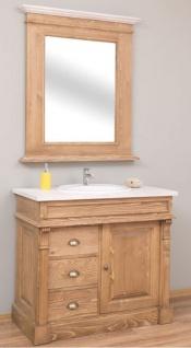 Casa Padrino Landhausstil Badezimmer Set Naturfarben / Weiß - 1 Waschtisch & 1 Wandspiegel - Massivholz Badezimmer Möbel im Landhausstil