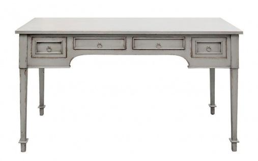 Casa Padrino Luxus Landhausstil Schreibtisch mit 4 Schubladen Antik Grau 100 x 65 x H. 75 cm - Handgefertigter Massivholz Sekretär - Büromöbel im Landhausstil