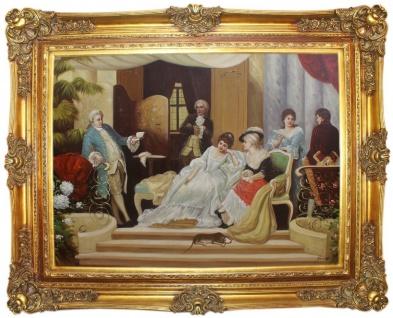 Casa Padrino Barock Ölgemälde Gehobene Gesellschaft Mehrfarbig / Gold 160 x 10 x H. 130 cm - Handgemaltes Gemälde mit prunkvollem Rahmen im Barockstil - Barock Deko Accessoires