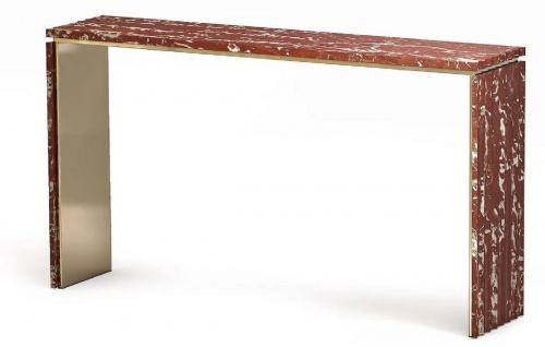 Casa Padrino Luxus Marmor Konsole Rot / Messingfarben 180 x 40 x H. 90 cm - Edler Konsolentisch mit hochwertigem handgeschliffenen Rosso Francia Marmor - Luxus Hotel Möbel