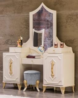 Casa Padrino Luxus Barock Schminktisch mit Spiegel Weiß / Gold - Barock Schmink Konsole - Schlafzimmer Möbel im Barockstil - Edel & Prunkvoll