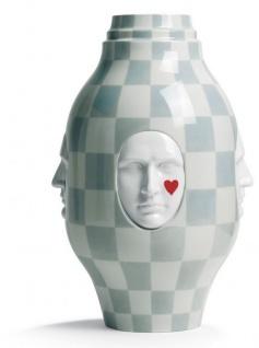 Casa Padrino Designer Porzellan Vase Weiß / Grau Ø 31 x H. 52 cm - Handgefertigte & Handbemalte Luxus Dekoration - Vorschau