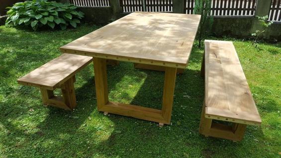 Casa Padrino Gartenmöbel Set Rustikal - Tisch + 2 Garten Bänke (Länge: 200 cm) - Eiche Massivholz - Vorschau 5