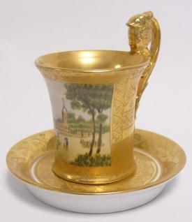 Casa Padrino Barock Tasse mit Untertasse Gold / Mehrfarbig Ø 13 x H. 11, 5 cm - Edles Porzellan Geschirr