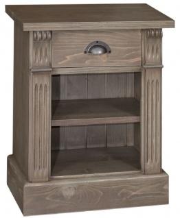 Casa Padrino Landhausstil Nachttisch mit Schublade und Regal Braun 49 x 33 x H. 60 cm - Massivholz Nachtkommode - Nachtschrank - Landhausstil Schlafzimmermöbel