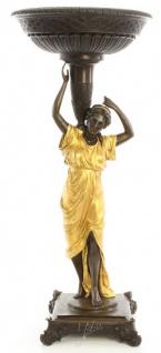 Casa Padrino Jugendstil Blumentopfständer Bronze / Gold 33, 2 x 33, 2 x H. 76, 4 cm - Luxus Bronzefigur