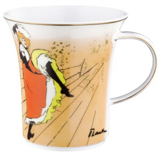"""Handgearbeiteter Becher mit Henkel aus Porzellan mit einem Motiv von T. Lautrec """" Jane Avril"""" 0, 25 Ltr. - feinste Qualität aus der Tettau Porzellanfabrik - Vorschau 1"""