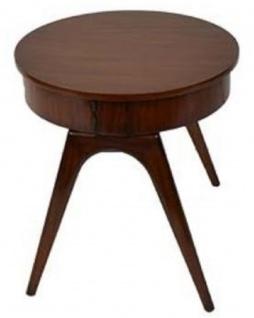 Casa Padrino Luxus Beistelltisch Dunkelbraun Ø 54 x H. 54 cm - Runder Mahagoni Tisch mit 2 Schubladen - Luxus Qualität
