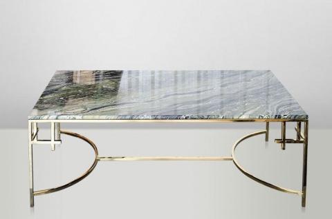Casa Padrino Art Deco Couchtisch Gold Metall / Marmor 130 x 70 cm- Jugendstil Tisch - Möbel Wohnzimmer